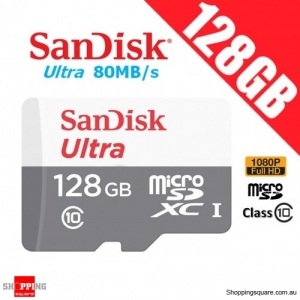 SanDisk Ultra 128GB microSDXC Memory Card UHS-I 80MB/s Full HD