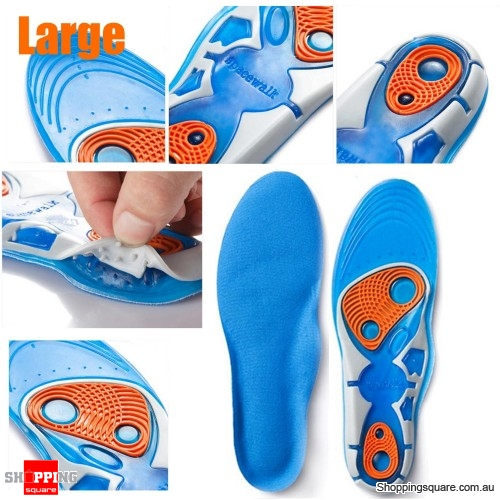 Silicon Gel Insole Foot Care Running Sport Insoles Shock Absorption Pads - Large