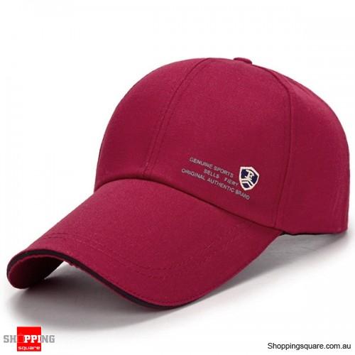 Adjustable Baseball Cap Buckle Hip-Hop Snapback Cap - Wine Red