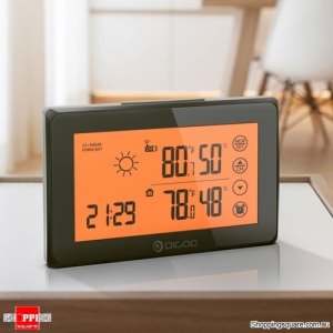 Backligt LCD Weather Station Alarm Clock Touch Screen With Remote Sensor Temperiture Humidity