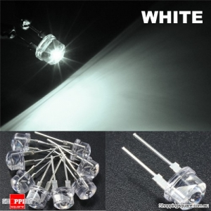 20pcs 8mm Straw Hat LED Water Clear Light Emitting Diodes Lamp - White
