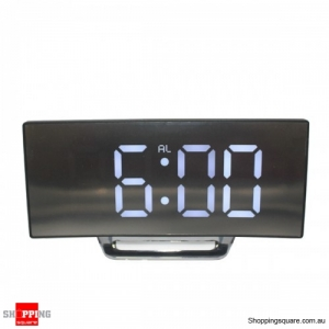 USB Rechargeable Mirror LED Alarm Clock Night Lights Digital Clock - White