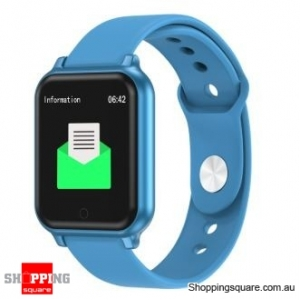 Metal Bezel Blood Pressure Motion Track Music Control Smart Watch - Blue