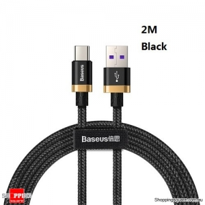 Baseus 2M 5A 40W USB Type C Quick Charge Cable for Huawei Mate 20 P30 P20 Pro Black Colour