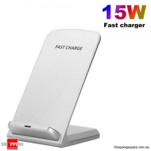 15W Fast Qi Wireless Charger Dock Stand For iPhone 11 XS 8 XR Samsung S20 S10 White Colour