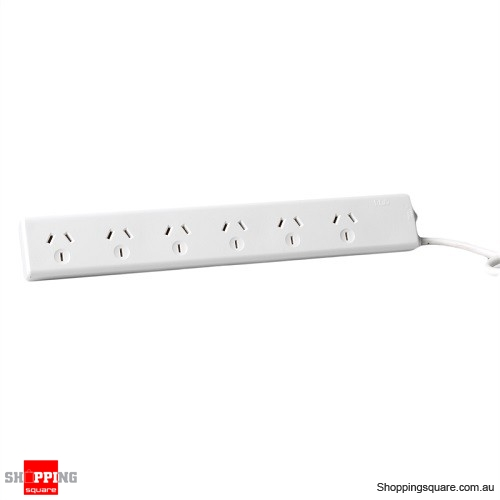 6 Outlet Overload Protected Powerboard - 2 Pack