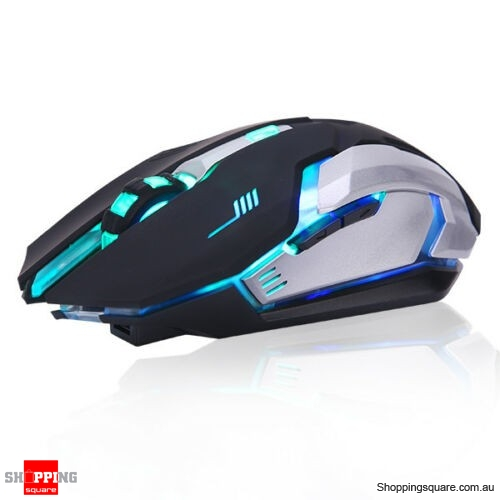 LED Wireless Gaming Mouse USB Rechargeable Ergonomic Optical For PC Laptop - Black Colour