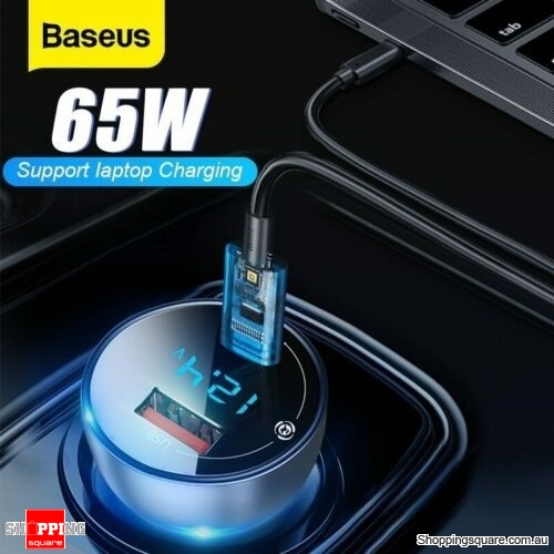 Baseus 65W Car Charger for Phone, Tablet and Laptop PD QC4.0 FAST Charge USB Type C - Black Tarnish