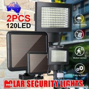 Pair Solar Lights Waterproof Security 120 LED Sensor Detection Flood Garden Lamp