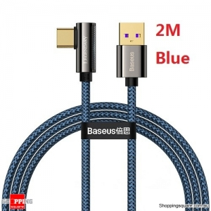 Baseus 2M 66W 6A Supercharge Quick Charge 3.0 Fast Charging USB C Cable for Huawei P40 P30 Mate 40 30 Pro - Blue