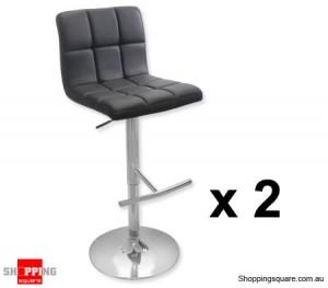 2 x PU Leather Padded Contoured Bar Stool Chairs Black