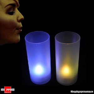 2x Bi-Colour LED Blow On-Off Candles