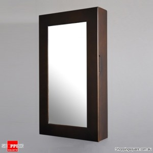 Wooden Wall Mount Mirrored Jewellery Box Cabinet-Brown Colour