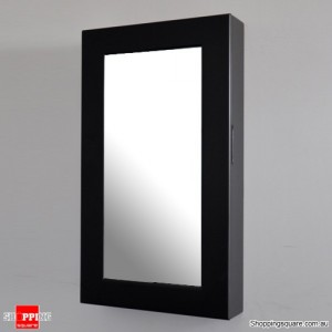 Wooden Wall Mount Mirrored Jewellery Box Cabinet-Black Colour