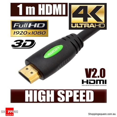 1M HDMI Cable v2.0 3D High Speed with Ethernet HEC 4K Ultra HD Digital Gold Plated