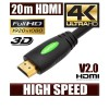 NEW 20M HDMI Cable (V2.0), High Speed with Ethernet and 4K Ultra HD, 3D function