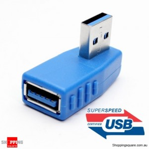 90 Degree USB 3.0 Male to Female Adapter Blue Colour