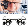 20X Magnifying Eyeglasses with LED Light for Watch Jewelry Repair