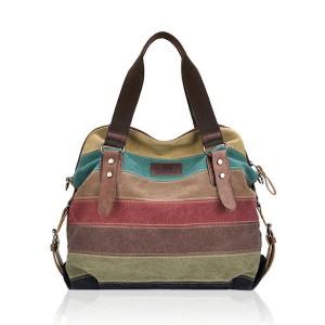 Women Casual Stripe Canvas Handbags Shoulder Bags