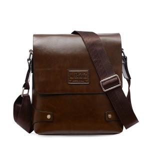 Men PU Business Shoulder Casual Briefcase Crossbody bag Deep Brown Colour