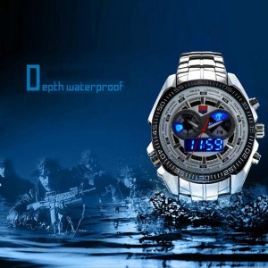 Mens TVG 468 3 Dial Analog-Digital Military Style Wrist Watch with LED Display White Colour