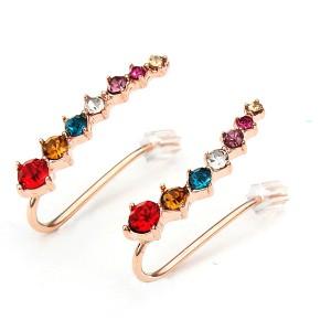 Italina Rhinestone Crystal Style Ear Cuff Earrings 18K Rose Gold Plated Multicolour