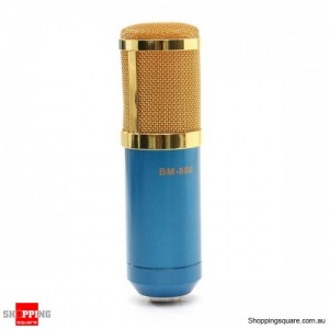 Professional Dynamic Condenser Recording Microphone + Shock Mount Blue Colour