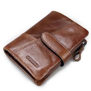Genuine Leather Wallet Vintage Standstone Men Wallets Male Purse Coin Bag Brown Colour
