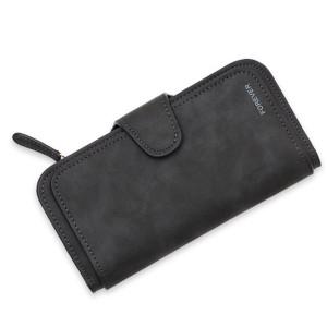 Women 14-Card-Slot PU Wallet Purse Card Phone Bag Black Colour