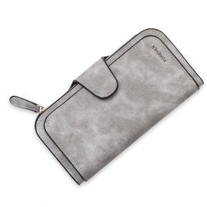 Women 14-Card-Slot PU Wallet Purse Card Phone Bag Grey Colour