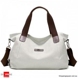 Durable Canvas Big Capacity Shoulder Bags Simple Crossbody Bags - Beige Colour