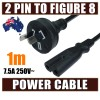 1M Mains Power Lead Cord Cable AU 2-Pin to Figure 8 Plug 250V 7.5A SAA