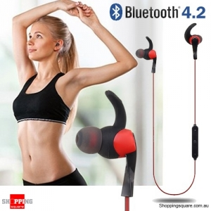 Bluetooth 4.2 Wireless Stereo Sports Earphone Red Colour
