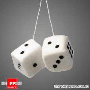 Large Plush 9cm Fluffy Dice - Twin Pack