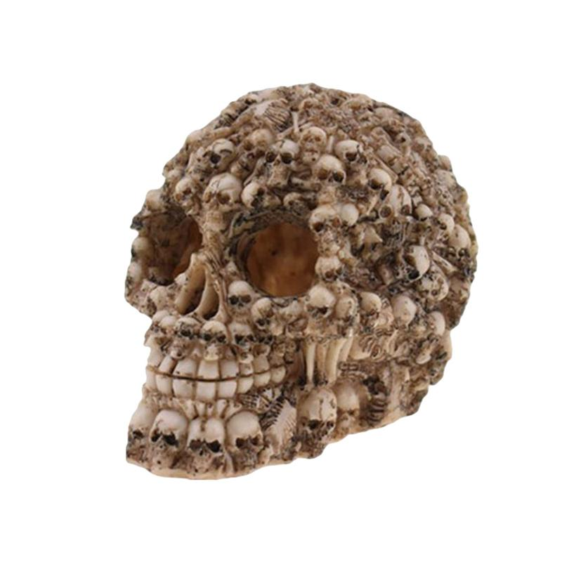 Halloween Skull Decor Horror Toy Human Prop Resin Skull Head Ornament Party Decorations #01