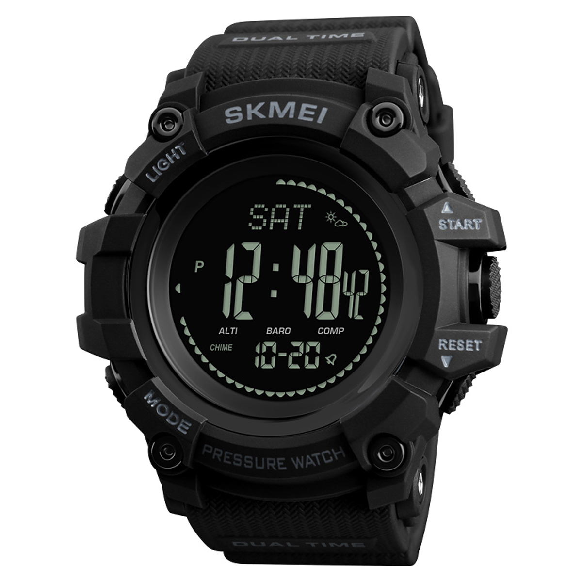 SKMEI 1358 3ATM Waterproof Smart Watch Pedometer Barometer - Black Colour
