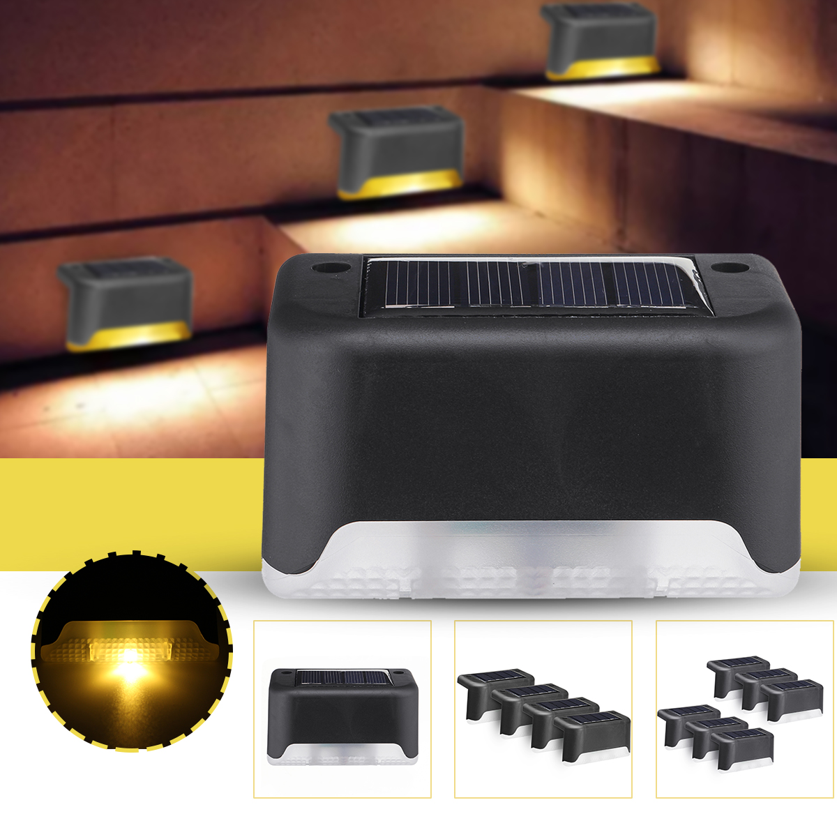 6PCS Solar Powered LED Stairs Step Light Black Shell Outdoor Waterproof Path Garden Deck Fence Wall Lamp