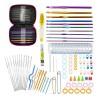 90pcs Crochet Hook Kit Yarn Knitting Needles Sewing Tool Ergonomic Grip Bag Set