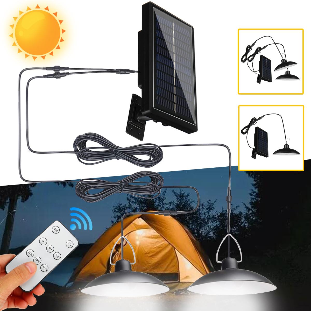 Waterproof Solar LED Pendant Light Outdoor Flood Hanging Garden Lamp + Remote Control - 100W
