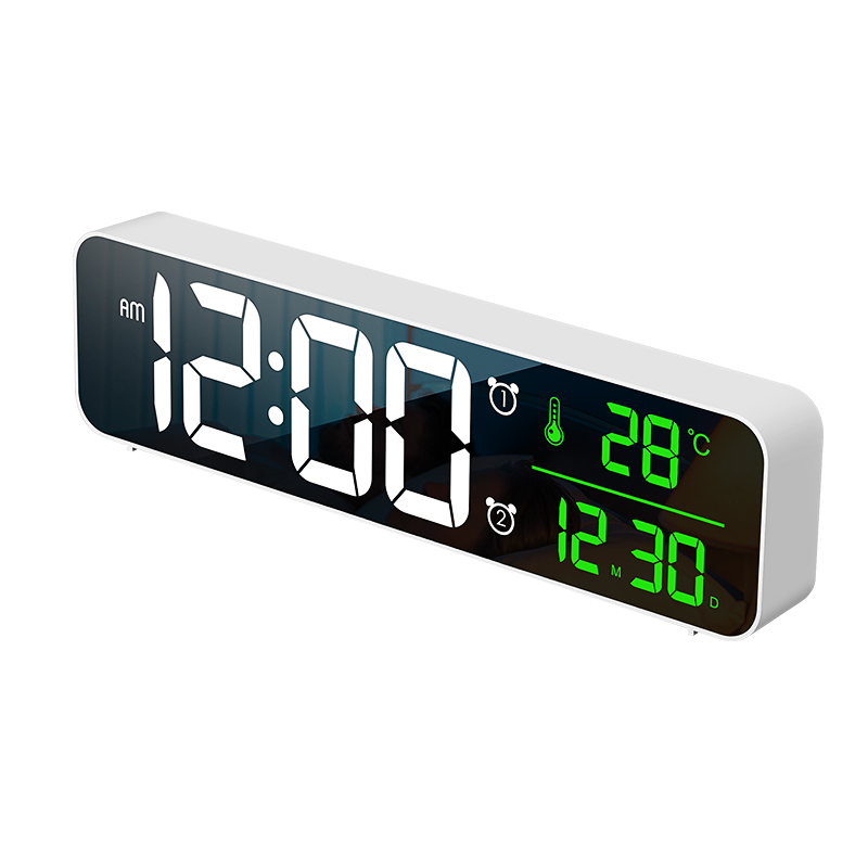 USB LED 3D Music Dual Alarm Clock Thermometer Temperature Date HD LED Display Electronic Desktop Digital Table Clocks - White