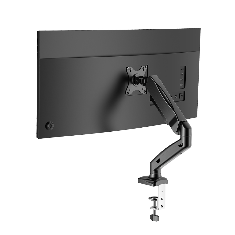 Monitor Stand with Pneumatic Arm, 360 Rotation, +90 to -45 Tilt, 180Swivel, Adjustable Height and Cable Management