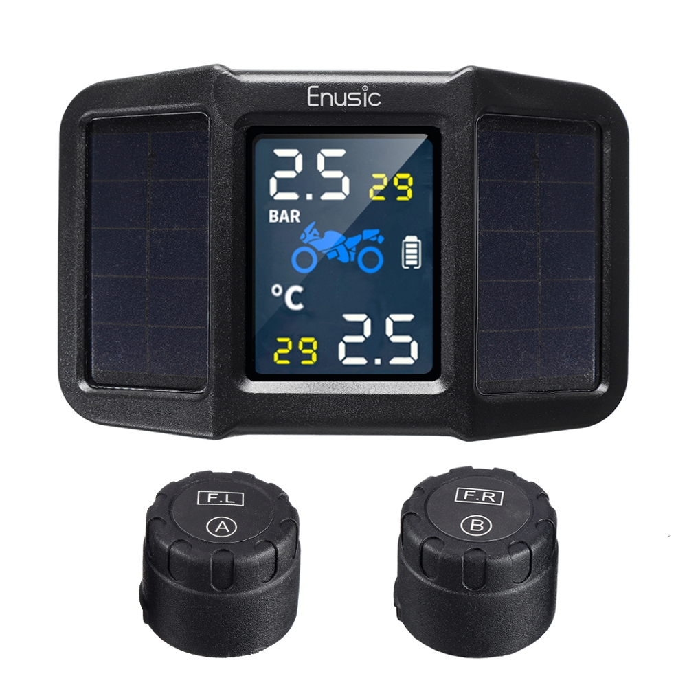 Solar Power + USB TPMS Waterproof LCD Display Motorcycle Real Time Tire Pressure Monitor System Wireless WI External Sensor