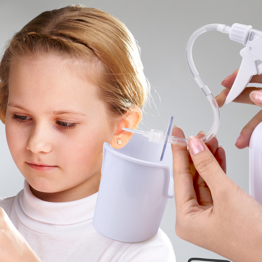 Adults Kid Ear Irrigation Cleaning Kit Premium Ear Wax Removal Kit with Ear Washing Syringe Squeeze Bulb Ear Health Care