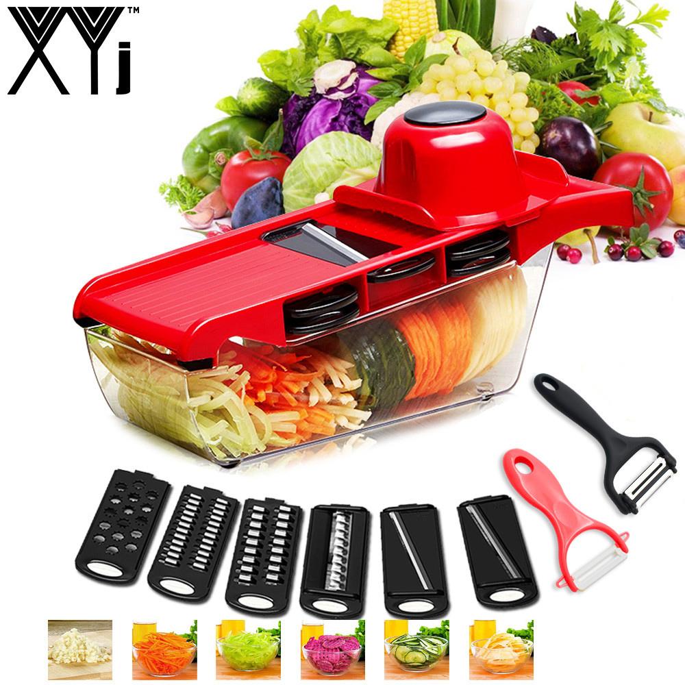 XYJ CCFG8901 Multi-function Vegetable Cutter Steel Blade Mandoline Slicer Potato Peeler Carrot Cheese Grater Vegetable Slicing