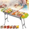 Stainless Steel Outdoor BBQ Charcoal Grill Folding Portable Durable Non-slip BBQ Installation-free Multi-purpose Grill