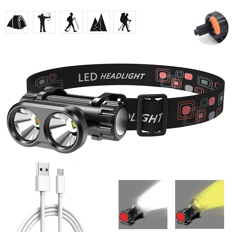 XANES OSL Headlight Double Light Source USB Rechargeable 90 Adjustable Magnetic Work Light Fishing Camping Hunting
