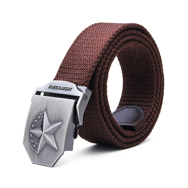 140CM Men's Belt Strip with Extended Thickening Canvas Weaving Buckle Coffee Colour